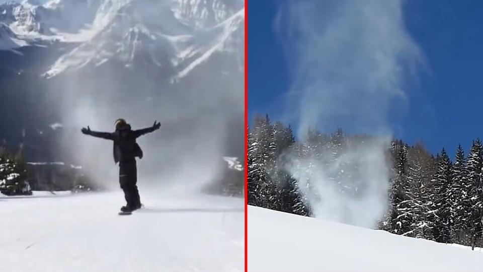 """不知天高地厚:加拿大滑雪爱好者,挑战""""雪龙卷""""被瞬间吞没!"""