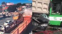 恐怖!山东青州一大货高速冲向排队等灯小车 伤20人损13车