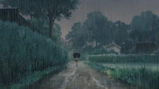 勘太撑伞行走在雨中遇小月