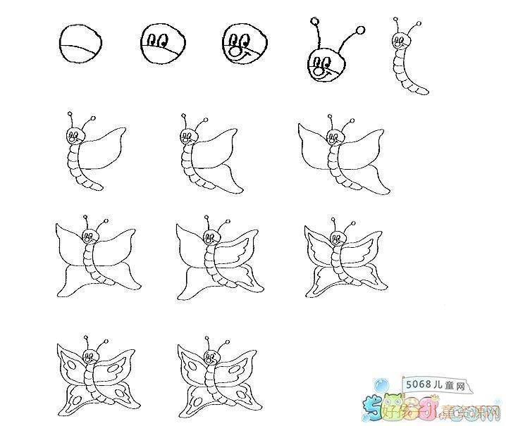 表情 可爱的小蝴蝶儿童简笔画蝴蝶的画法 动物简笔画 表情