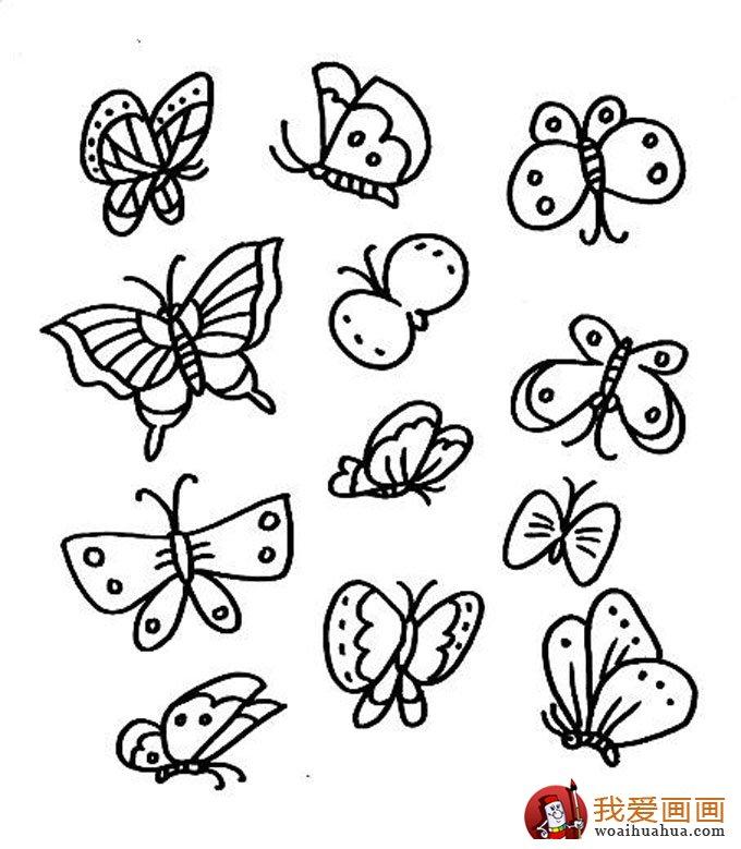 表情 儿童简笔画蝴蝶,美丽的花蝴蝶简笔画图片 5 儿童画教程 学画画