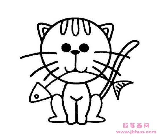 表情 小猫吃鱼简笔画 简笔画网 表情
