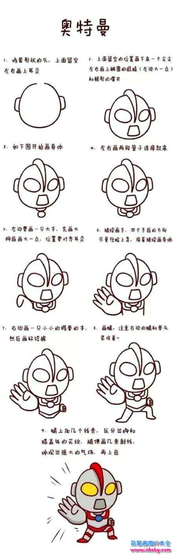 表情 奥特曼简笔画画法步骤 怎么画奥特曼 奥特曼 儿童简笔画图片大全 表情