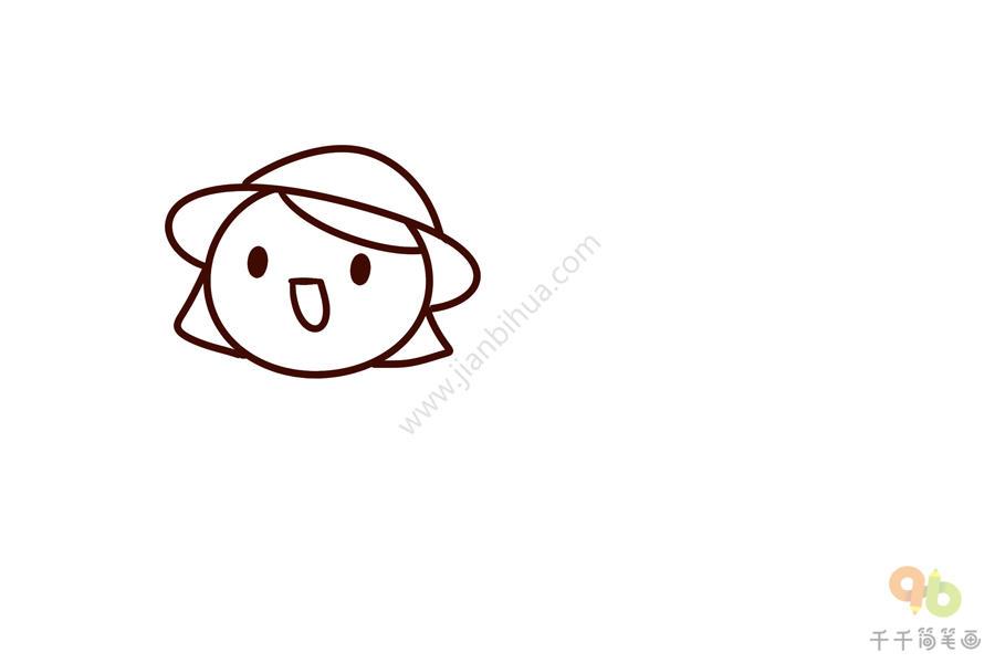 表情 四季符号春游的小女孩简笔画 零基础学画 表情图片