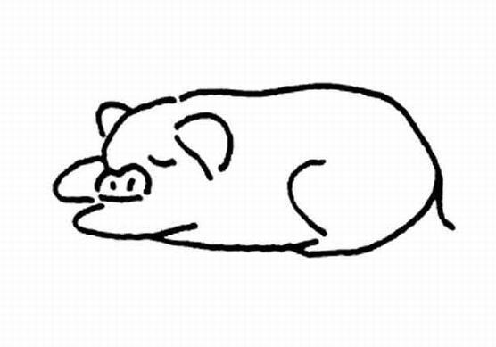 表情 睡觉的小猪简笔画幼儿动物简笔画作品分享 5068儿童网 表情