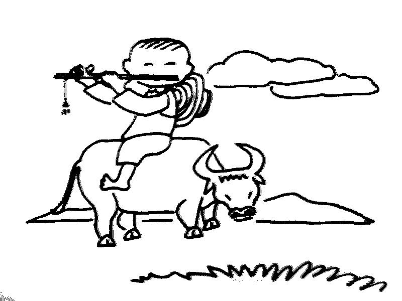 表情 儿童风景简笔画 牧童还有黄牛简笔画 儿童风景简笔画 牧童还有黄牛图片  表情
