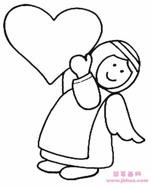 表情 爱心天使简笔画图片 简笔画网 表情