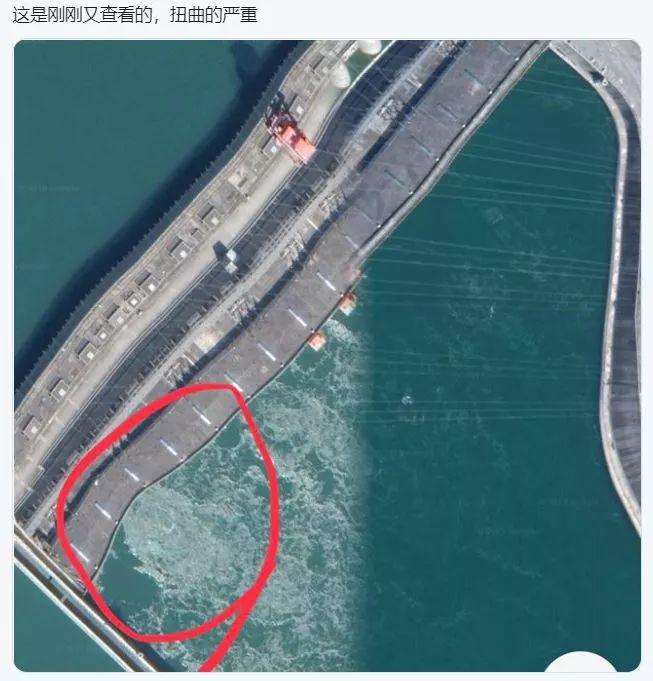 表情 三峡大坝变形要溃坝了 辟谣 卫星图有偏差 表情