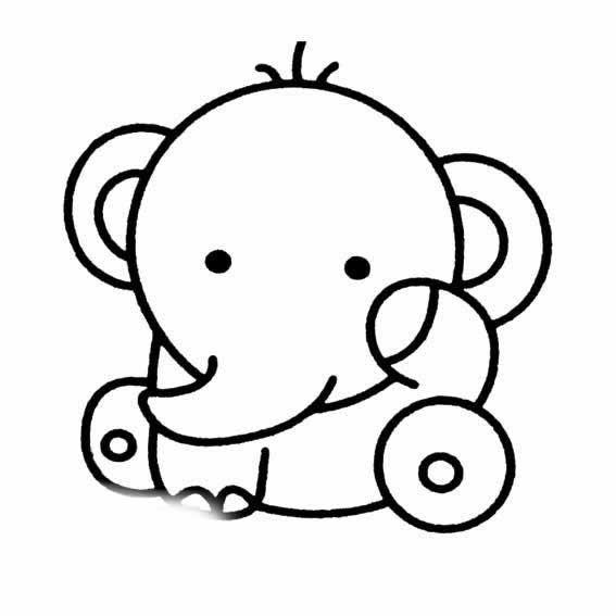表情 小象卡通简笔画 大象图片简笔画 育才简笔画 表情