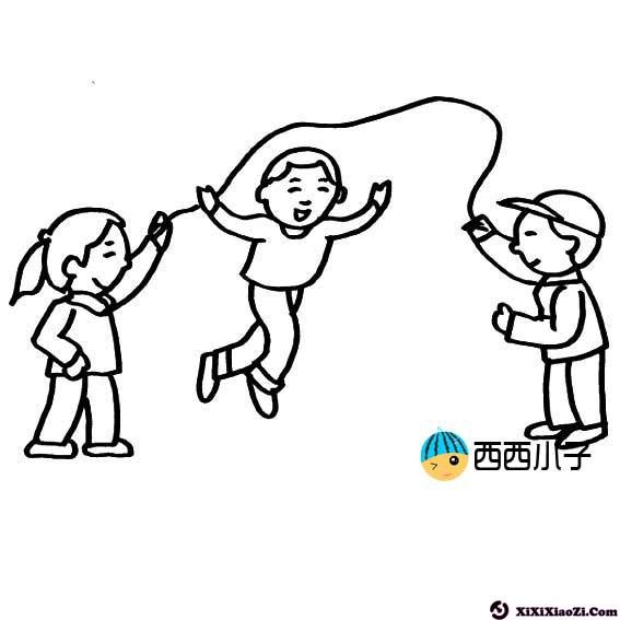 跳绳的小朋友简笔画图片 格格 表情