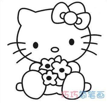 表情 卡通凯蒂猫简笔画怎么画动漫kitty猫图片步骤 巧巧简笔画 表情