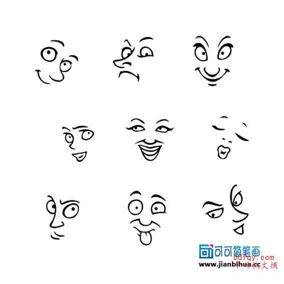 表情 有趣的简笔画表情 生气表情简笔画,一笔画作品 千叶帆文摘 表情
