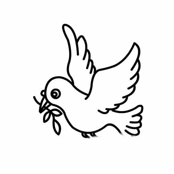 表情 和平鸽衔着橄榄枝的画法 育才简笔画 表情