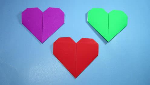 表情 纸艺手工折纸爱心,一张纸2分钟就能学会心形的折法 腾讯视频 表情