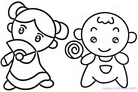 吃圆形棒棒糖的小女孩简笔画图片 铅笔素描 巧巧简笔画 表情