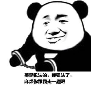 表情 张学友熊猫头双手戴手铐表情 美是犯法的,你犯法了, 麻烦你跟我走一趟  表情