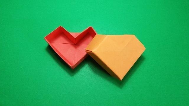 表情 三分钟折纸心形礼品盒子爱心收纳盒子简单又实用的折纸盒子 高图片