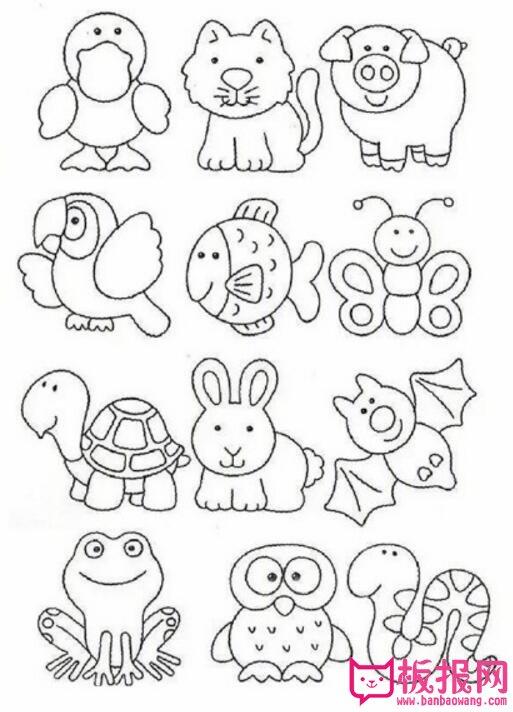 表情 可爱的小动物简笔画素材,手账素材简笔画 板报网 表情