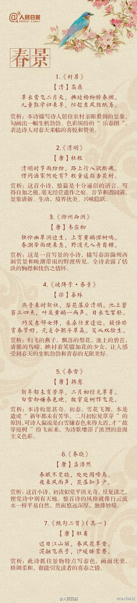 表情 春天的诗句 春日古诗大全 听春雨 赏春花 感春夜 中国传统文化社
