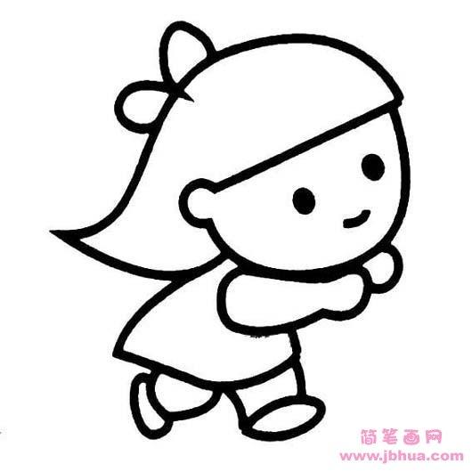表情 踢毽子的女孩简笔画 简笔画网 表情