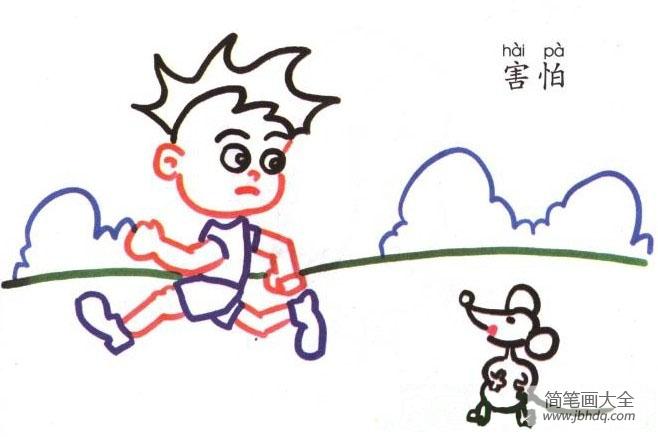 表情 人物简笔画害怕的小男孩 小男孩简笔画 简笔画大全 表情