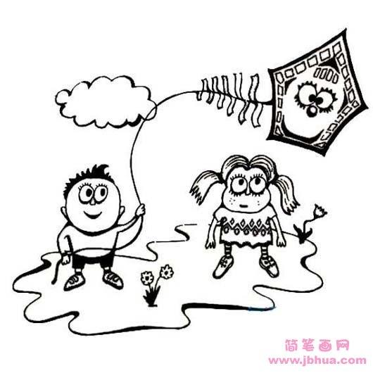 表情 幼儿清明节放风筝简笔画图片 简笔画网 表情