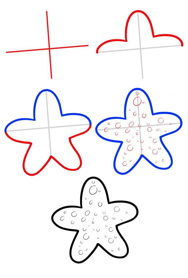 表情 海星简笔画步骤教学,绘画图片,儿童文艺 绘艺素材网 表情