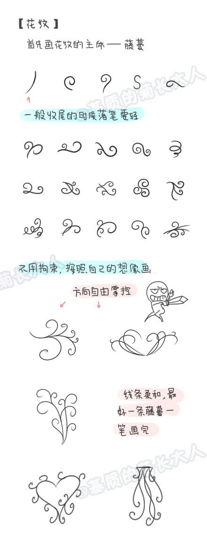 的花边和花纹简笔画素材,送给手帐达人们 很漂亮,漂亮,简笔,
