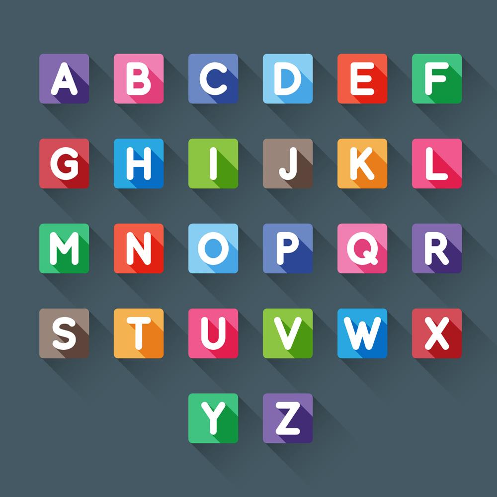 表情 26个方形大写字母矢量素材 矢量字体 懒人图库 表情