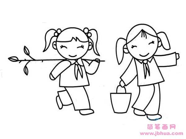 表情 小学生植树节简笔画图片 快乐植树 简笔画网 表情