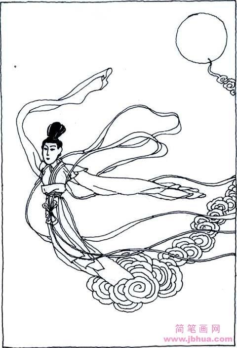 表情 翩翩起舞的嫦娥简笔画图片 简笔画网 表情
