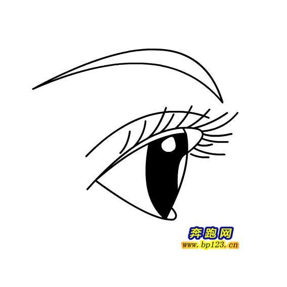 表情 女孩眼睛简笔画画法 奔跑网 表情