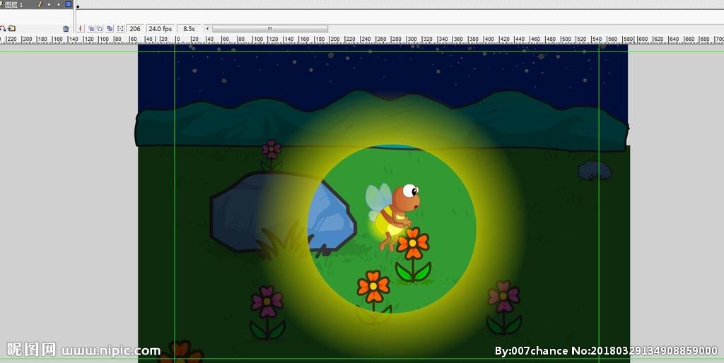 表情 遮罩动画夏日萤火虫飞舞8秒矢量图 动画素材 Flash动画 矢量图库