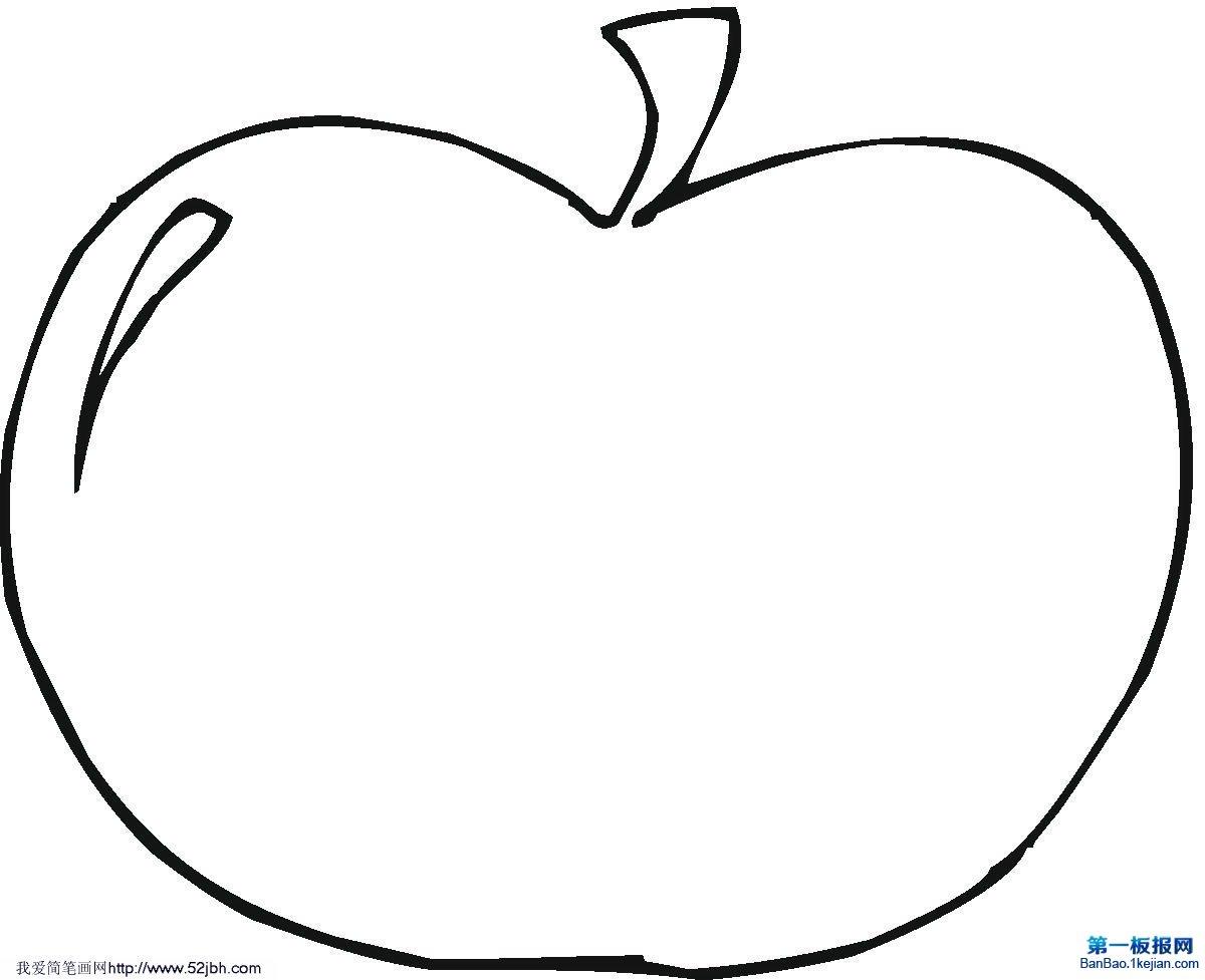表情 苹果简笔画的简易画法 第一板报网 表情