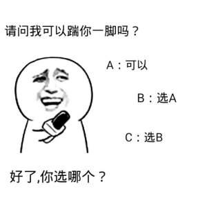 情 请问我可以踹你一脚吗可以选A选B好了,你选哪个图片