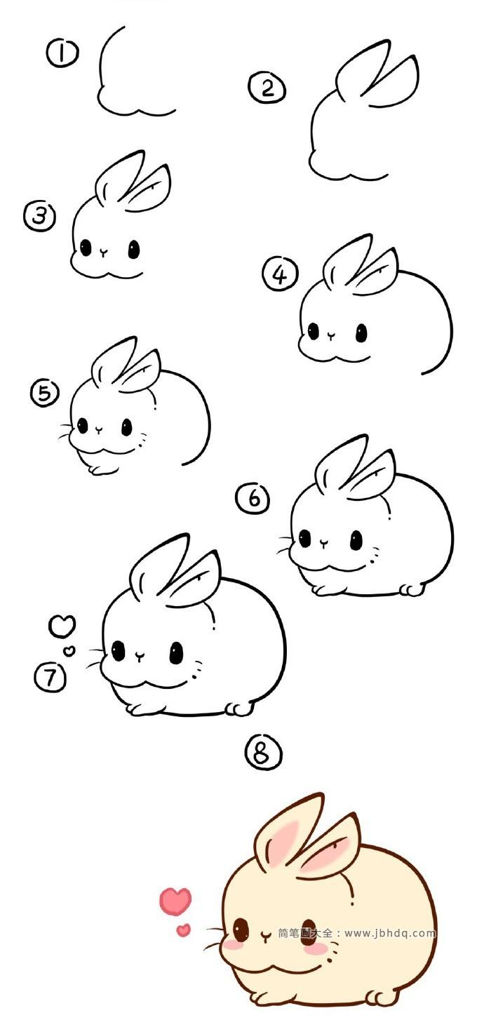 表情 萌萌的小胖兔简笔画 兔子简笔画 简笔画大全 表情