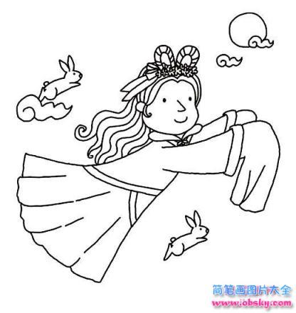 表情 怎么画中秋节儿童嫦娥奔月简笔画的教程 中秋节简笔画 儿童简笔画图片大全 表情