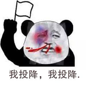 表情 金馆长熊猫头鼻青脸肿举旗表情 我投降,我投降. 九蛙图片 表情