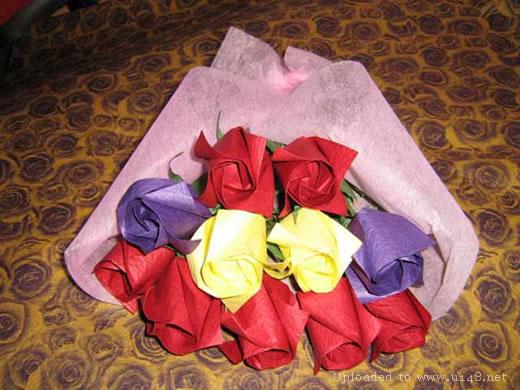 表情 玫瑰花束制作方法玫瑰花的折法图解步骤教程 巧巧简笔画 表情