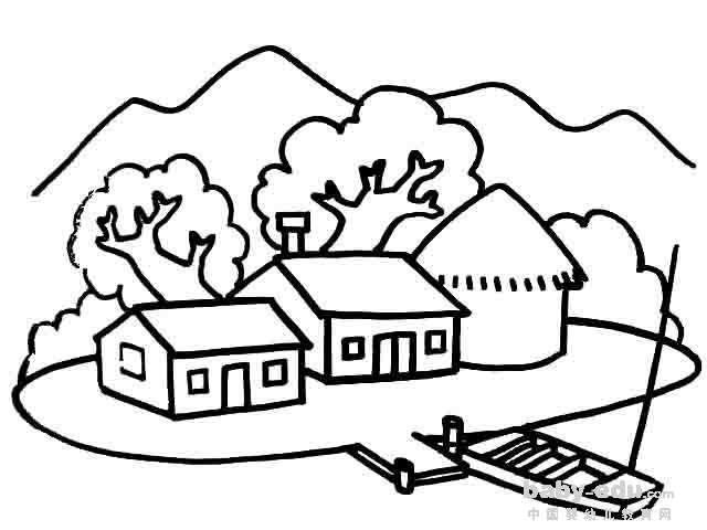 表情 房子风景简笔画大全 土著房子 风景简笔画 中国婴幼儿教育网 表情