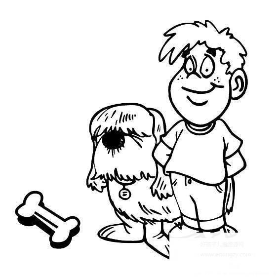 表情 小男孩和狗狗简笔画,小男孩和狗狗的简笔画画法 人物简笔画