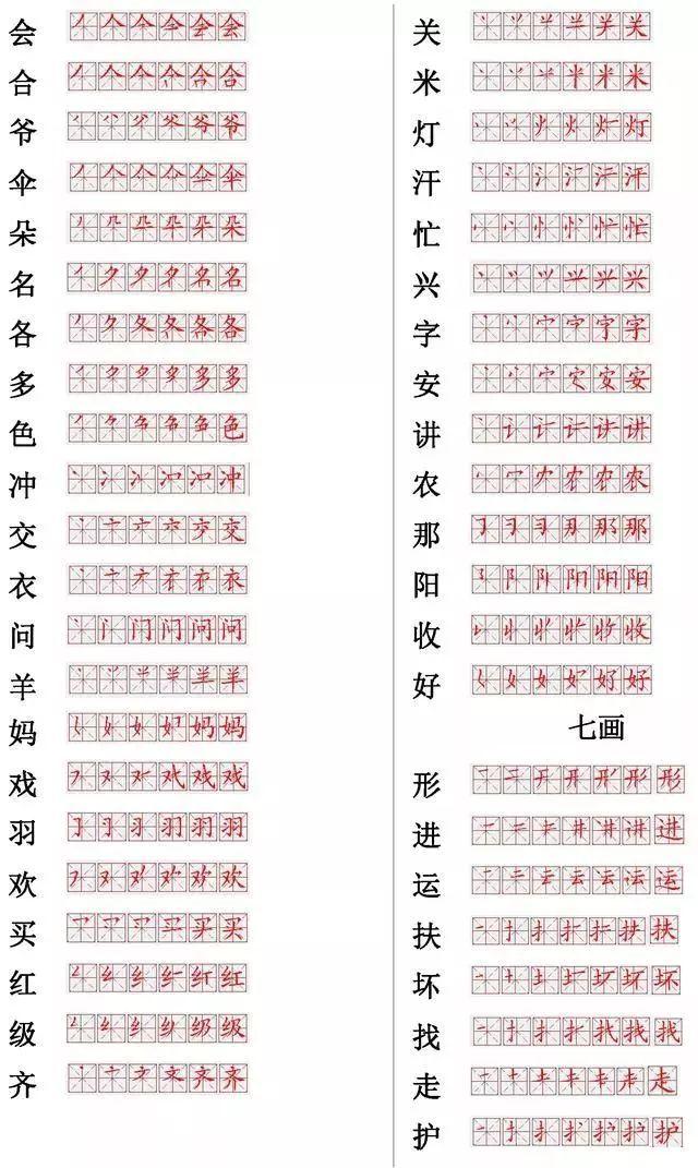 表情 小学常用560个汉字笔画笔顺表,收藏好暑假让孩子练习 表情