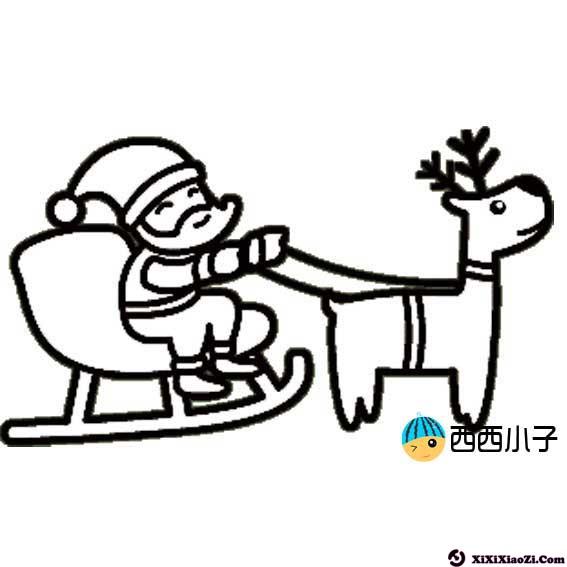 圣诞老人和驯鹿图片简笔画 格格 表情