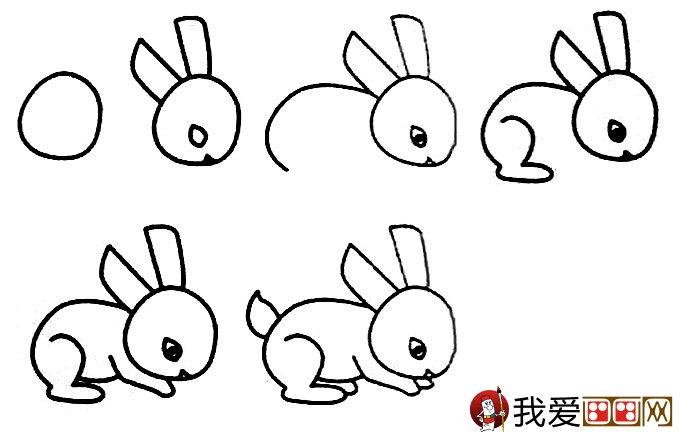 表情 3个简笔画兔子绘画教程 兔子简笔画画法 儿童画教程 学画画 我爱画画网 表情