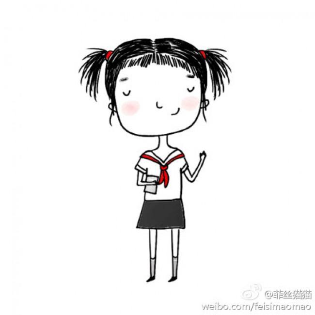 美感的小女生简笔画教程图片适合做女生头像很洒脱的女生卡通画画 .