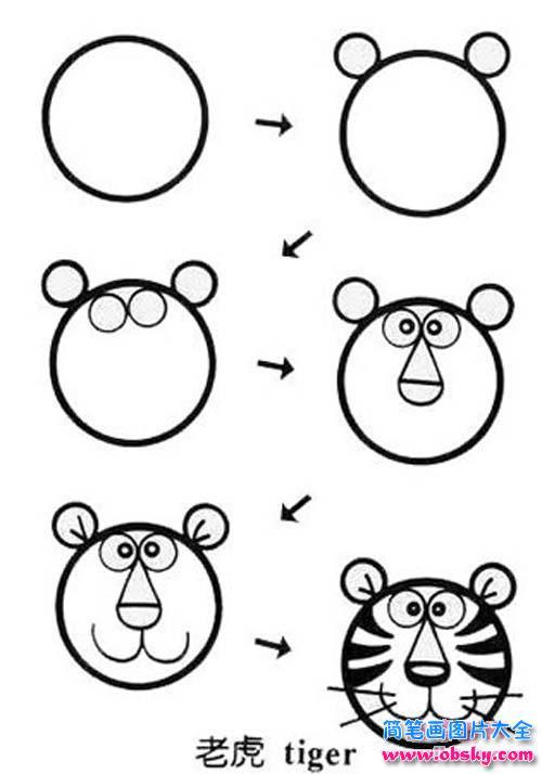 表情 老虎头像简笔画画法步骤 老虎头像怎么画 简笔画老虎 儿童简笔画图片大全 表情