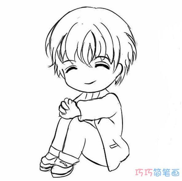 表情 坐着的小男孩怎么画铅笔 小男孩简笔画图片 巧巧简笔画 表情