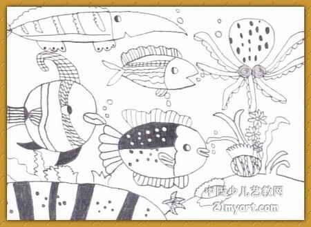 表情 海底世界 简笔画 海底世界 图片欣赏 海底世界 儿童画画作品 有伴网 表情
