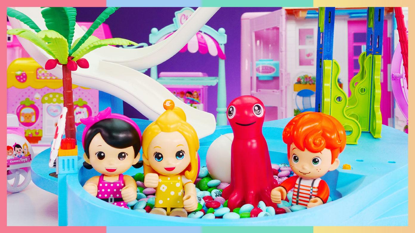 米妮的彩虹糖果商店和超大滑梯游乐园   凯利和玩具朋友们 CarrieAndToys