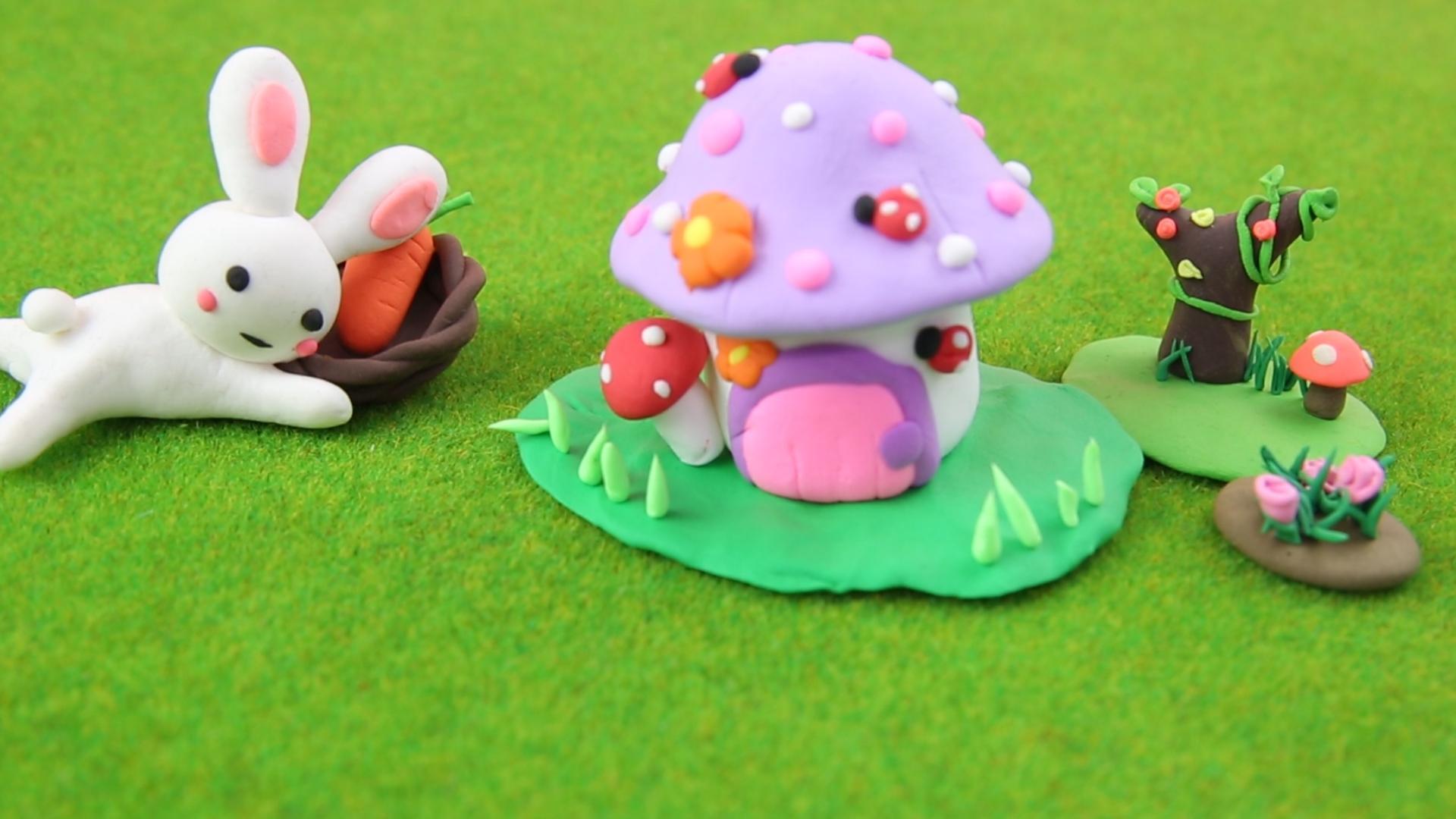 粘土萌萌小兔子的蘑菇房子